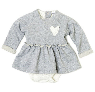 Baby Girls Flared Dress With Bodysuit Bottom Attachment - Grey (0-12 Months)