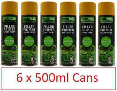 Autotek Professional Filler Primer High Covering Spray Paint 6 Cans 500ml