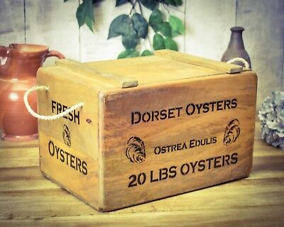 Vintage antiqued wooden box, crate,  Dorset Oysters