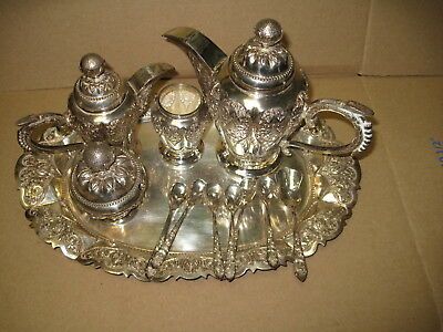 Antique 800 Italian Silver 5 Piece Coffee/Tea Set with Matching Tray