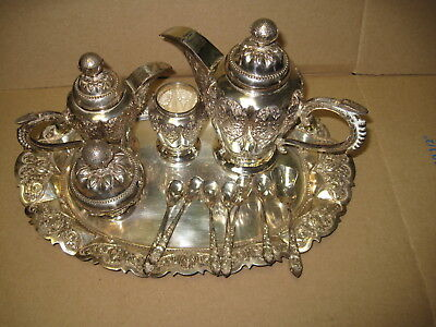 INDONESIAN YOGYA SILVER. . 5 Piece Coffee/Tea Set with Matching Tray