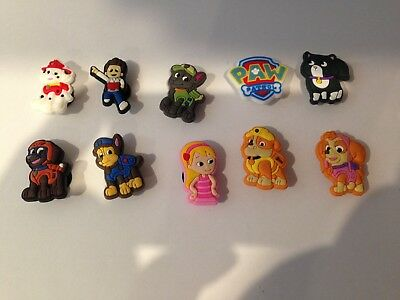 10 x Paw Patrol Croc Shoe Charms Crocs Shoes Jibbitz Wristabands Skye Chase