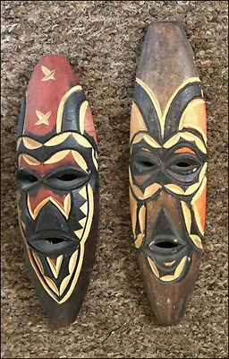 a pair of small African wall masks 2