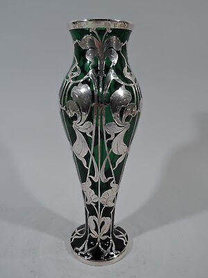 Art Nouveau Vase - Antique - American Emerald Green Glass & Silver Overlay