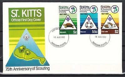 St. Kitts, Scott cat. 99-100. Scouting Anniversary issue. First day cover.