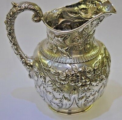 Outstanding S KIRK & SON Co. Repousse 925/1000 Sterling Silver Pitcher 1896-1914