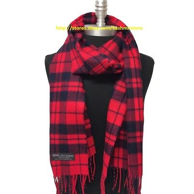 NEW 100% CASHMERE SCARF MADE IN SCOTLAND PLAID DESIGN SOFT UNISEX ,Red/Navy Blue