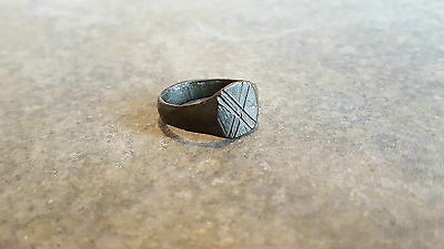 Ancient Roman RING (#41) Engraved X Or TEN On Bezel, 16 mm Diam