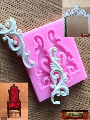 M01028 MOREZMORE Scroll Silicone Mold for Doll Furniture Carved Wood Effect