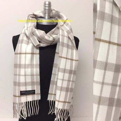100% CASHMERE SCARF MADE IN SCOTLAND PLAID DESIGN SOFT UNISEX ,Tan/Ivory/Coffee