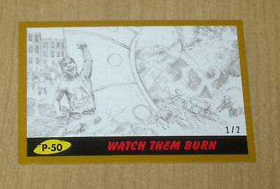 2017 Topps MARS ATTACKS Revenge GOLD parallel pencil art P-50 1/2