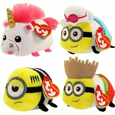 Ty Set of 4 Teeny Tys Despicable Me Plush Fluffy Tourist Minion Dave Jerry Mel