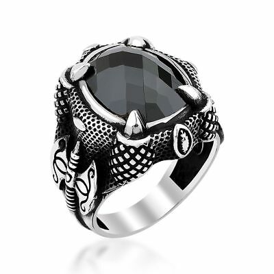 Turkish Handmade 925 Sterling Silver special Onyx Mens Ring Sz 11 us free Resize
