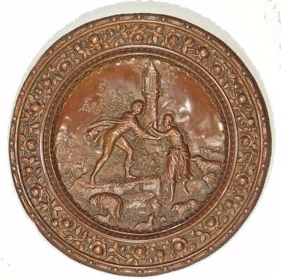 Mid 19th C. European Copper Repoussed Allegory Plate w/ Shepherds and Christ