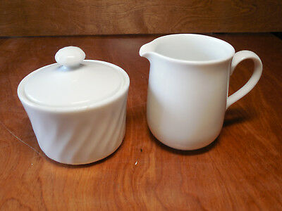 Corelle USA WHITE SWIRL ENHANCEMENTS Sugar Bowl & Lid & Creamer 3 pcs