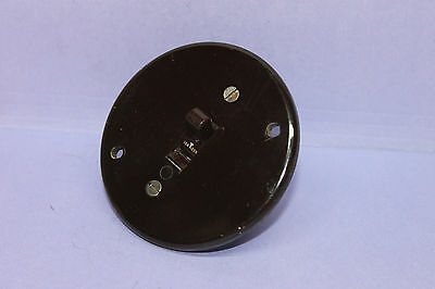 """Vintage Arrow-H&H Brown Bakelite Round Toggle Switch for 3"""" Junction Box, 10A"""