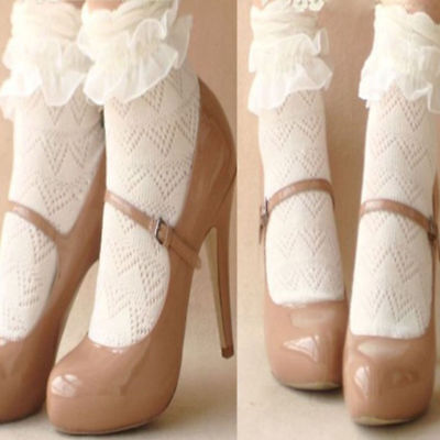 US Women Fashion Lace Socks Princess Vintage Cute Girl Ruffle Frilly Ankle Socks