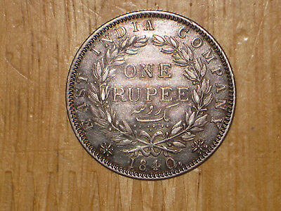 British India 1840 silver Rupee coin Queen Victoria nice