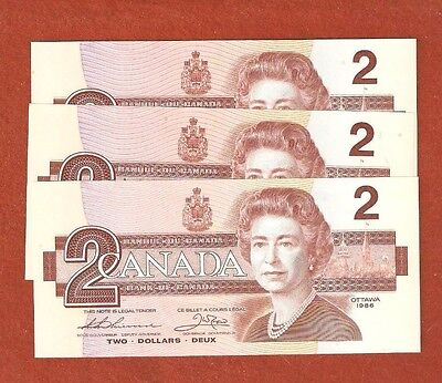 3 1986 Consecutive Serial Number Two Dollar Bank Notes Gem Uncirculated L635