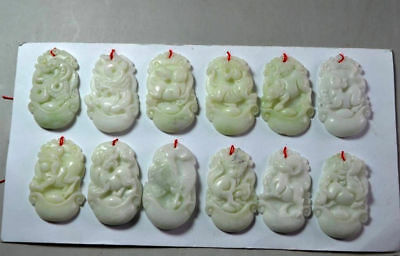 12 PCS Chinese natural jade carved complete 12 zodiac jade pendant  NR