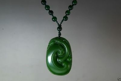 Natural green jade nephrite carved dragon statue jade pendant & necklaces NR