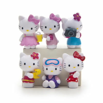 6pcs Hello Kitty Anime Figure Cute Model Doll Decoration Cake Topper