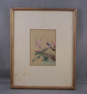 """Antique Chinese Watercolor On Silk Birds & Flowers Signed Art 4 1/2"""" x 3 1/4"""""""