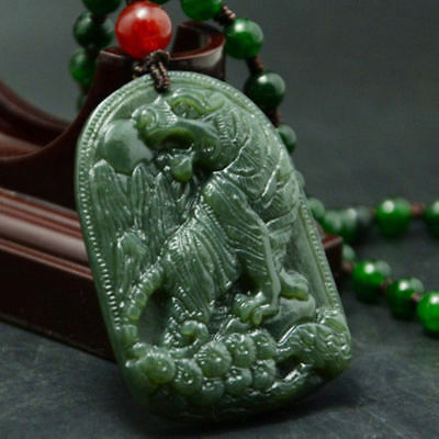 Natural Green Hand-carved Chinese Hetian Jade Pendant - tiger -Free Necklaces