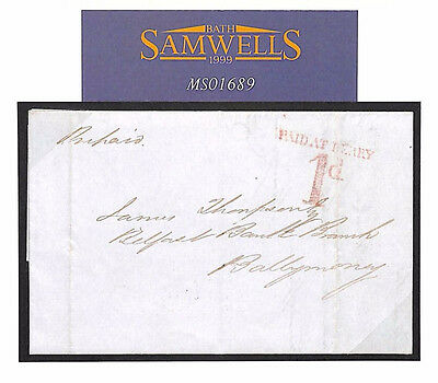 MS1689 1841 GB IRELAND Uniform Penny Post *PAID AT DERRY/1d* Derby UPP Cover