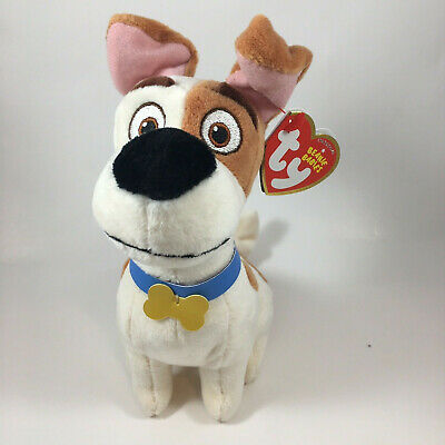 """TY Beanie Baby Plush 7"""" MAX the Jack Russell Terrier (Secret Life of Pets)"""