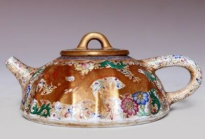 Special Chinese Hand Carving Gilt ZiSha Pottery Teapot Mark QianLong