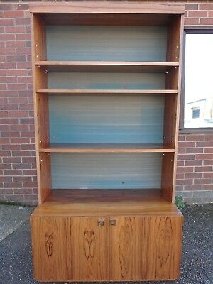 1960s vintage Danish rosewood retro library shelving bookcase cupboard cabinet