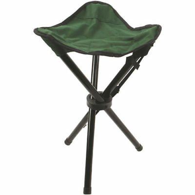 New Folding 3 Leg Steel Tripod Stool Camping Festival Fishing Chair - Green