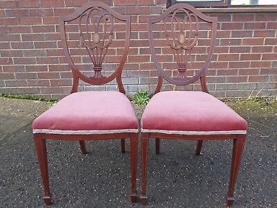 Pair 2 Edwardian antique Sheraton revival mahogany inlaid shield back chairs