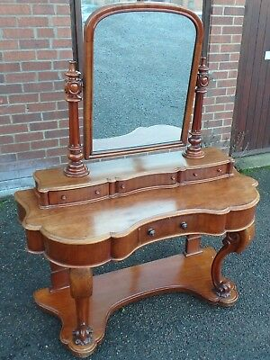 Victorian antique solid Cuban mahogany serpentine duchess mirror dressing table