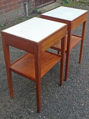 Pair 2 1970s vintage solid teak Remploy military Air Corps drawer bedside tables