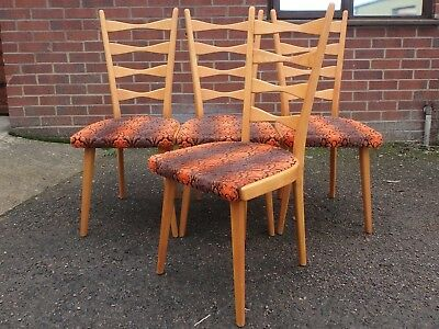 Set 4 1960s retro beech ladderback vintage upholstered kitchen dining chairs