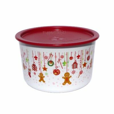 Tupperware Small Christmas Canister Baubles Gingerbread Instant Seal NEW