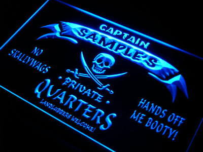 pw-tm Name Personalized Custom Private Quarters Pirate Man Cave Neon Sign