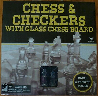 Brand New Chess & Checkers With Glass Chess Board Clear & Frosted Peices