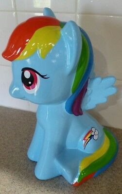 Brand NEW My Little Pony Rainbow Dash Ceramic Coin Money Piggy Bank 9.5""