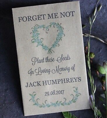 LOVE-Forget Me Not-Personalised Seed Packets-Funeral Favours-Remembrance