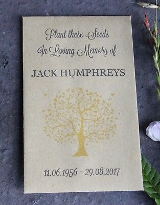 OUR TREE-In Loving Memory-Personalised Seed Packets-Funeral Favours-Remembrance
