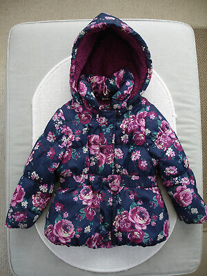 Baby Girls Navy Floral Fleece Lined Coat Age 18-24 months- TU
