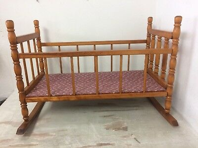"Vintage Baby Doll Wooden Rocking Cradle Bed Crib Reborn Dolls To 23"" B"
