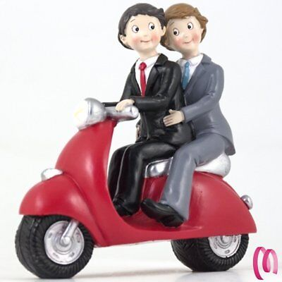 Cake topper LGBT sposi Gay in Scooter  MBB9162