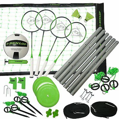 Dunlop Professional Volleyball Badminton Games: Classic Outdoor Lawn Game Set