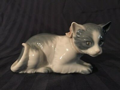 Lladro Nao Cat Figure with Bow from Spain