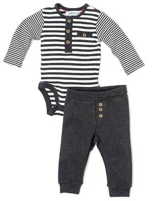 Baby Boys Marl Stripe Long Sleeved Bodyvest & Leggings Outfit 0-9 Months
