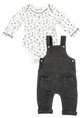 Baby Boys Baggy Dungaree & Bodysuit Outfit (0-12 Months)